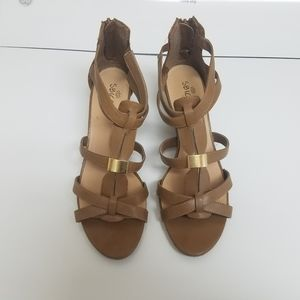 New listing! Sbicca leather wedge sandals, Size 9